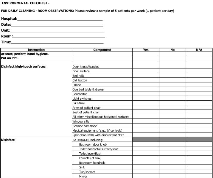 Checklist Kebersihan Rumah Sakit